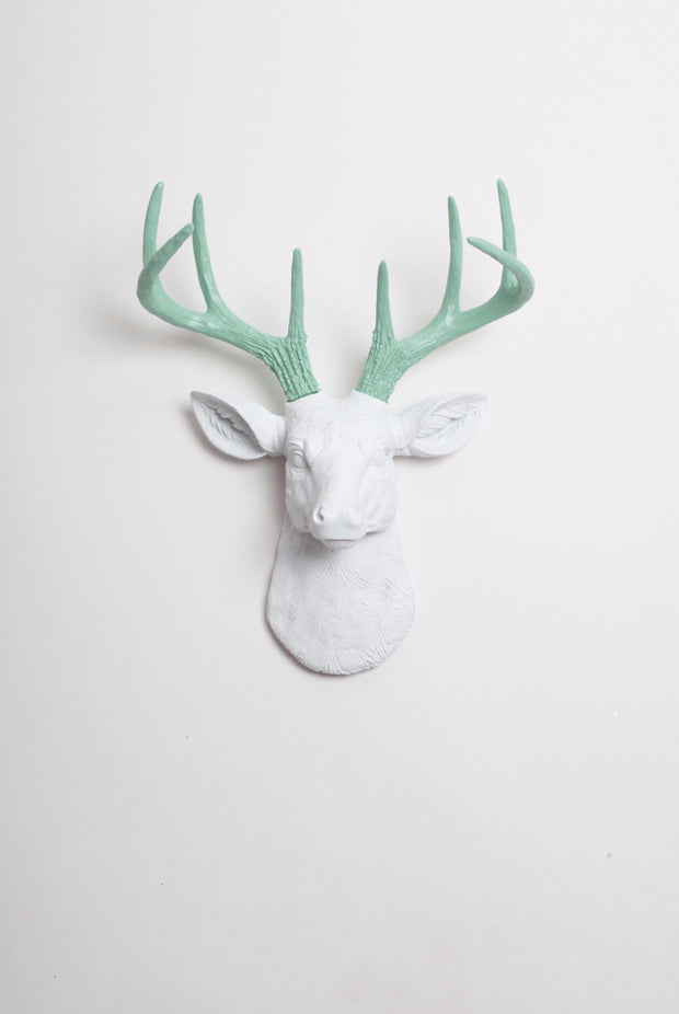 Mini White & Seafoam Green Faux Antlers Stag Head Wall Mount
