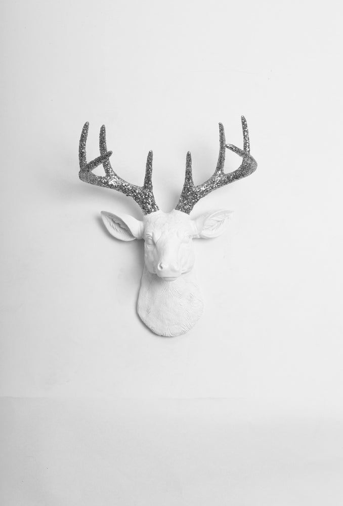 The MINI Weston | Stag Deer Head | Faux Taxidermy | White Resin w/Silver Glitter Antlers