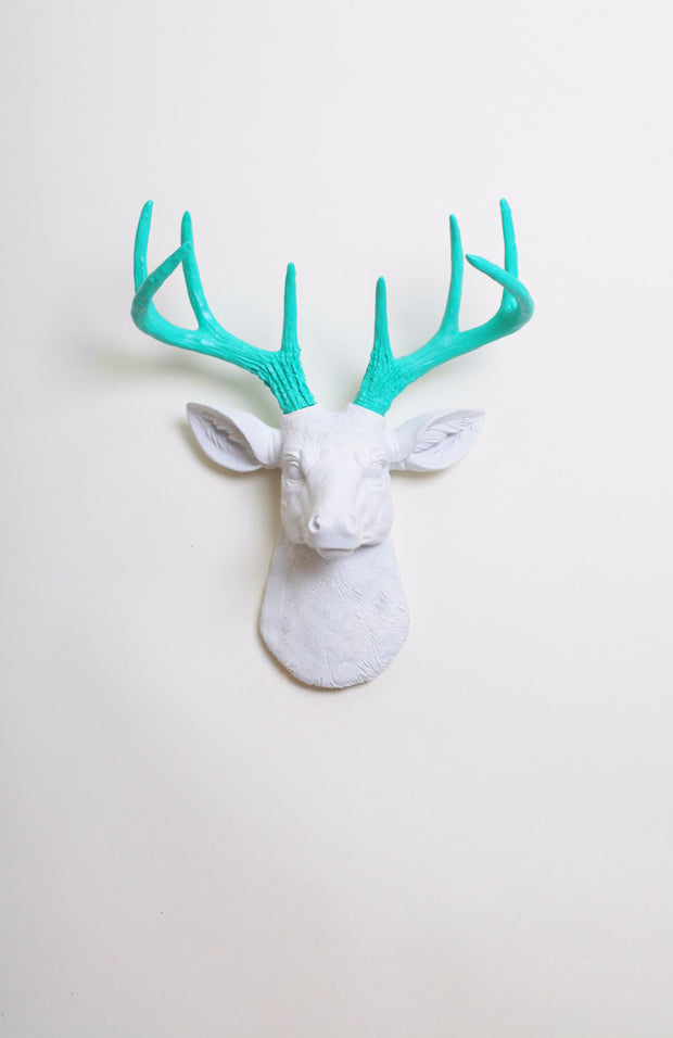 Turquoise Faux Antlers & White Stag Head Wall Mount. mini white resin deer head sculpture & turquoise antler decor wall hanging