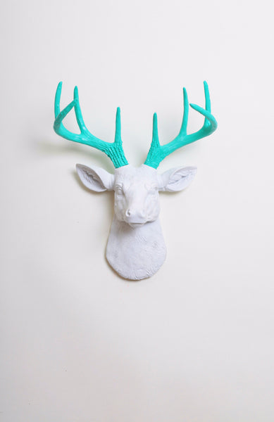 Mini White Deer Head Wall Mount Turquoise Antlers Faux