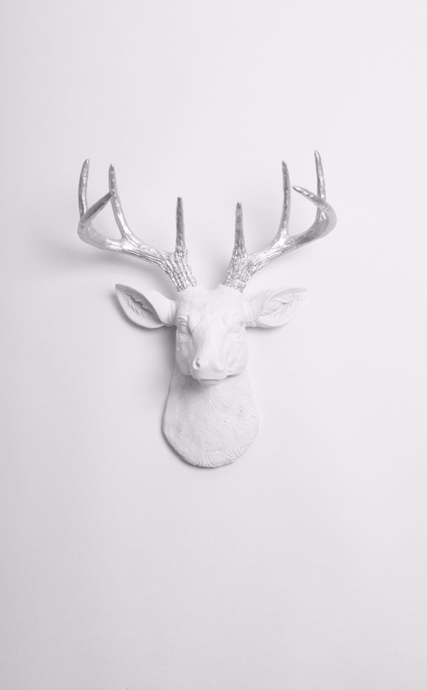 Mini Chrome Faux Antlers & White Deer Head Wall Mount
