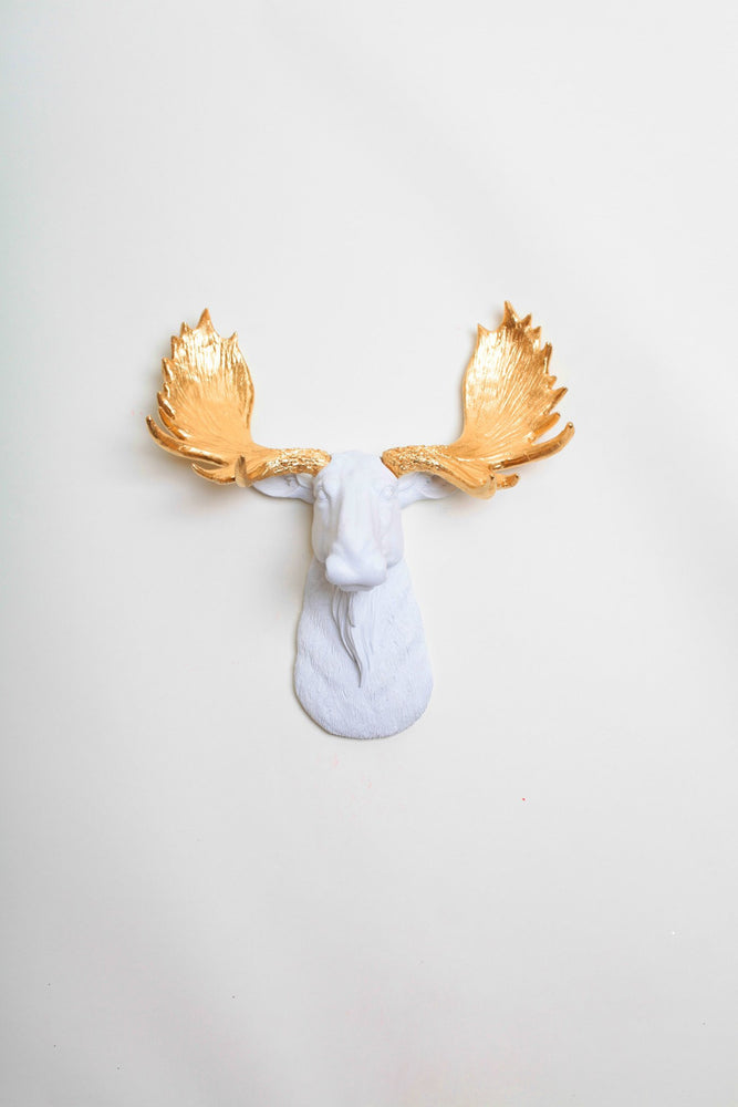 Mini White & Gold Moose Head, The Mini Glitz