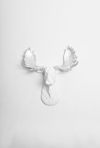 The MINI Adobe | Moose Head | Faux Taxidermy | White Resin w/Silver Antlers