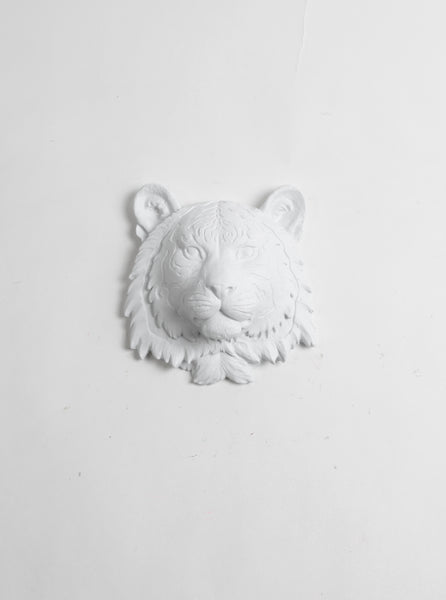 the laurel mini tiger head faux taxidermy white resin white faux taxidermy. Black Bedroom Furniture Sets. Home Design Ideas