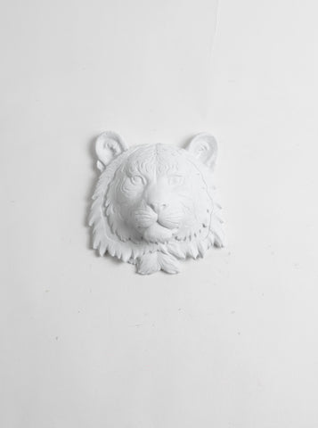 The Laurel | Mini Tiger Head | Faux Taxidermy | White Resin