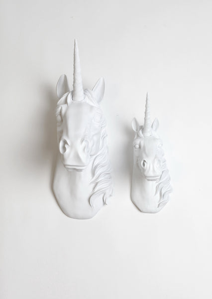 Unicorn Head Wall Decor Set | Mini & Large Unicorn Taxidermy | Faux Animal Wall Art