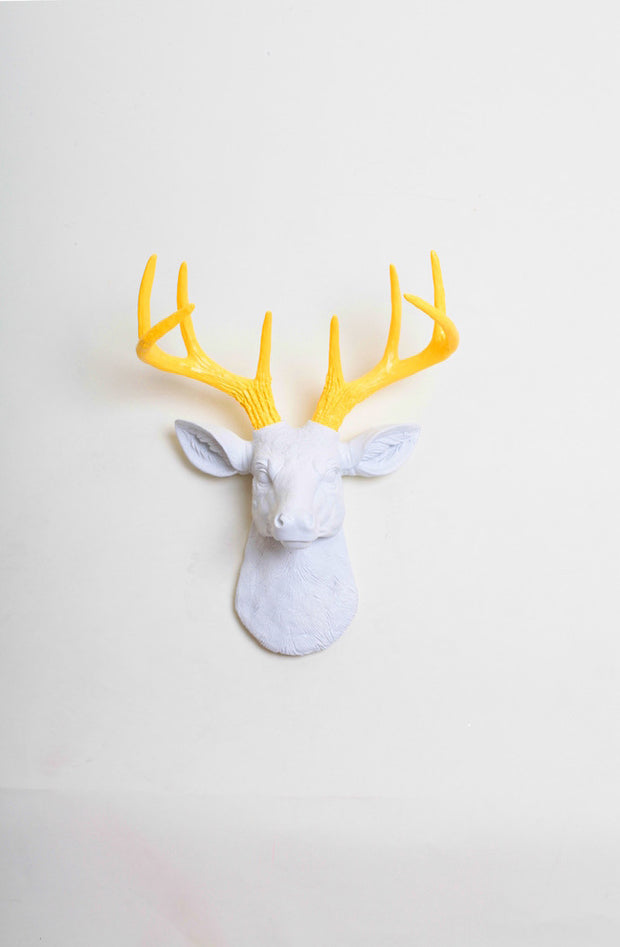Mini Yellow Stag Head Wall Mount, White Head + Yellow Faux Antlers. mini white resin deer head sculpture & yellow antler decor wall hanging