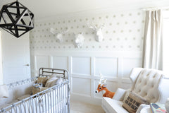 Forest Theemed Nursery With White Animal Heads, The Templeton Deer Head Shown. Shabby Chic Decoration & Teddy Wingback Chair (Instagram 2017 (C) by @Monikahibbs)