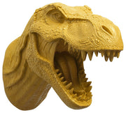 mustard-yellow color t rex dinosaur head trophy wall mount