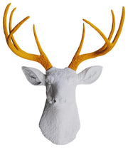 mustard-yellow resin deer antlers, white faux deer head wall sculpture