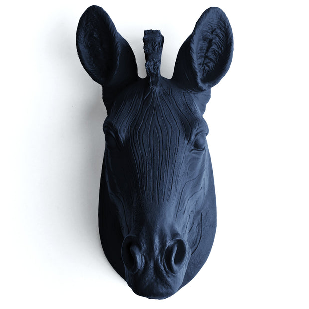 The Myra in Navy - Mini Zebra Head | Modern African Safari Decor
