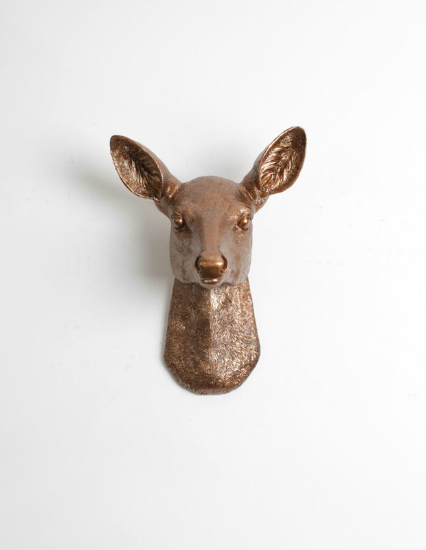 The Ophelia in Bronze, Faux Doe Deer Head Wall Mount