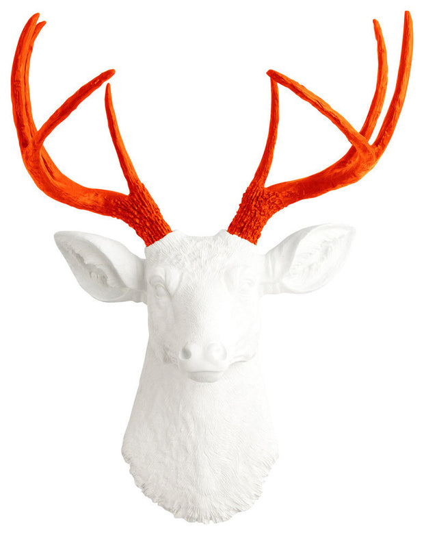 orange faux deer antlers, white resin deer head wall decor