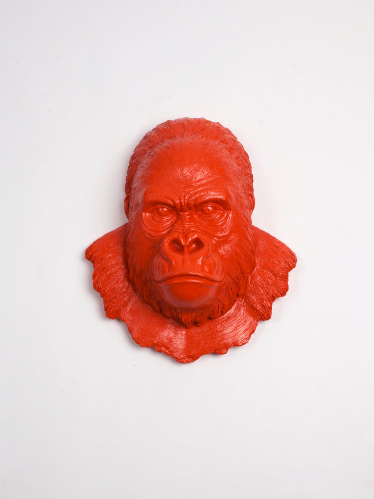 Orange Gorilla Ape Head Wall Mount