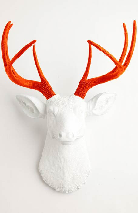 white deer head with orange antlers wall mount, Fake Taxidermy