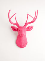 Large Pink Faux Deer Head Wall Mount