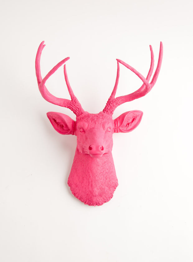 Large Pink Faux Deer Head Wall Decoration, pink resin fake stag head sculpture
