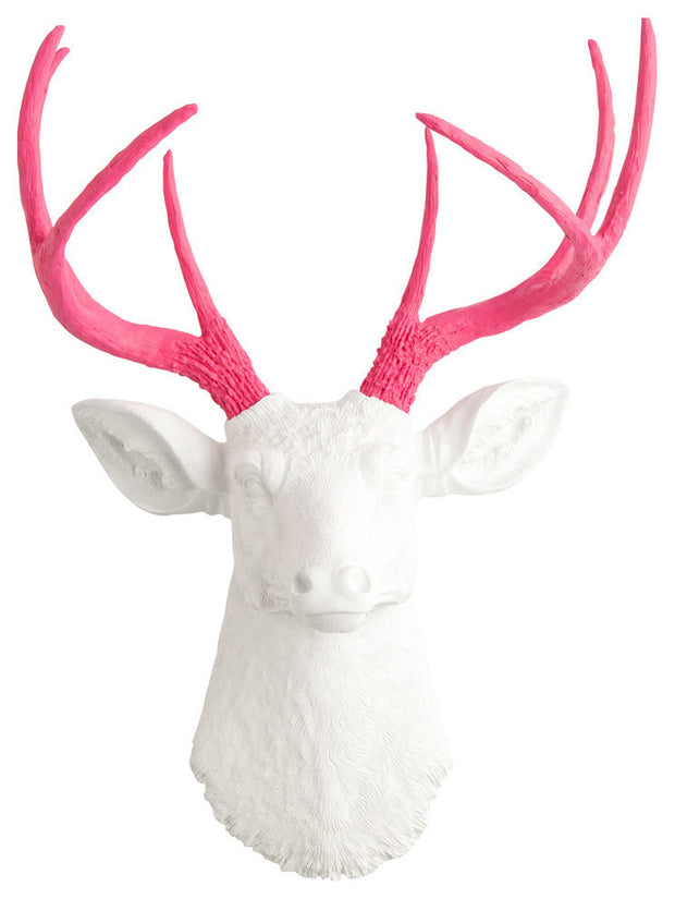 pink resin deer antlers, white faux deer head wall decoration