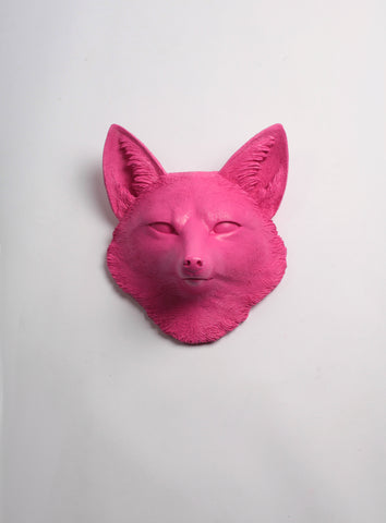 The Sylvester in Pink, Faux Taxidermy Fox Decor Head