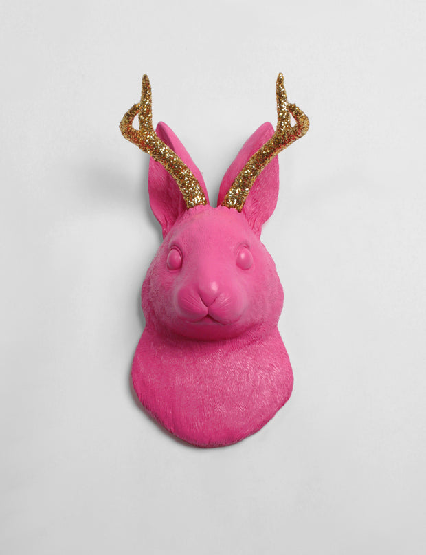 White Faux Taxidermy Exclusive - The Corduroy in Pink w/Gold Glitter Antlers - Jackrabbit Head- Jackalope Mount -Animal Friendly Decor