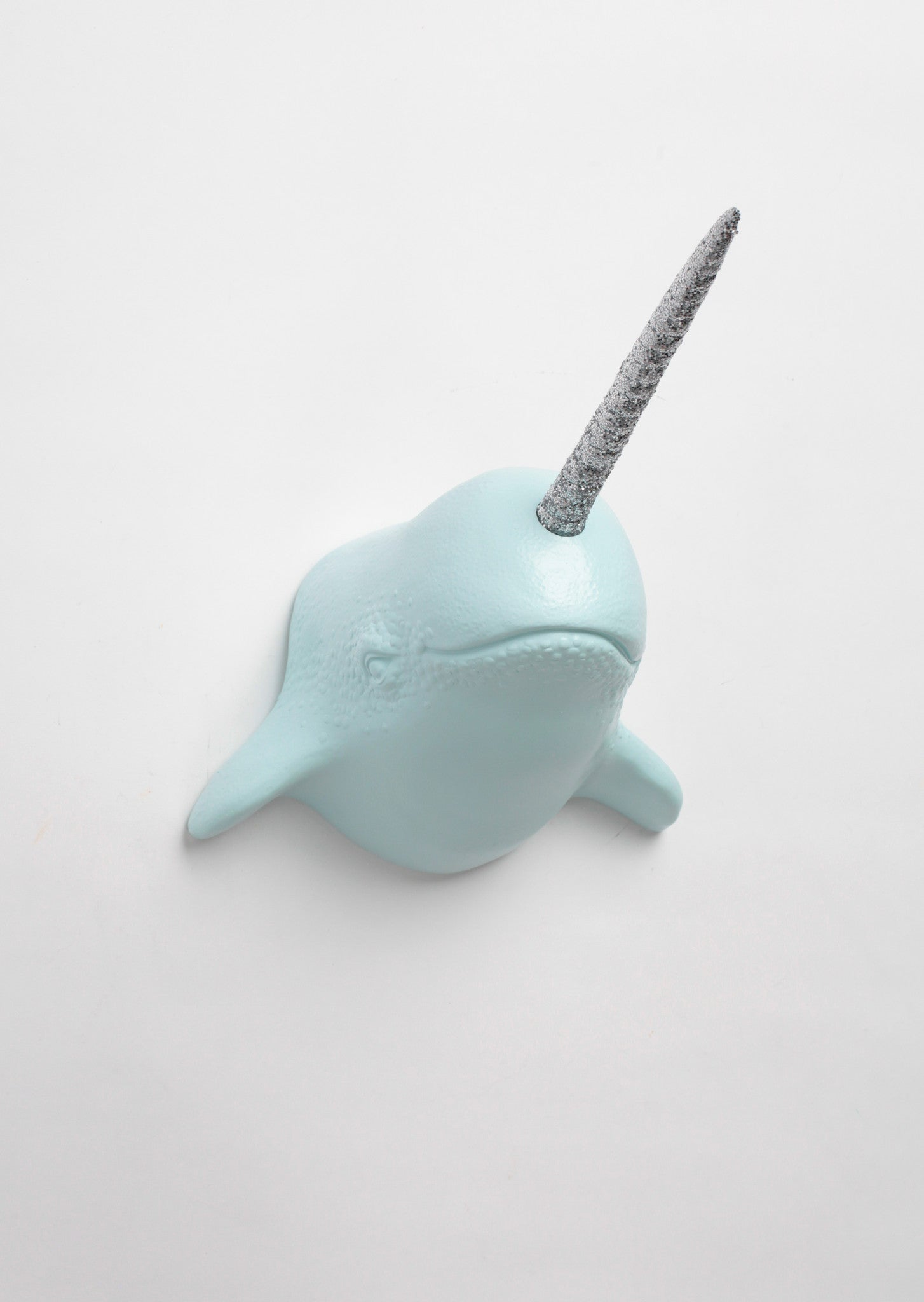 Light Blue Narwhal wall mount with silver glitter horn