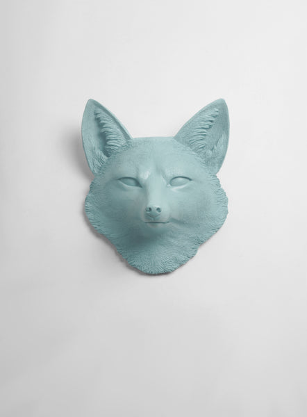 The Sylvester in Powder-Blue, Faux Taxidermy Fox Decor Head