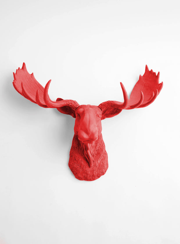 The Rosie | Moose Head | Faux Taxidermy | Red Resin