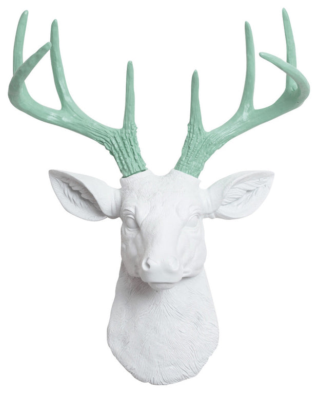 mini white resin deer head sculpture & seafoam-green antler decor wall hanging
