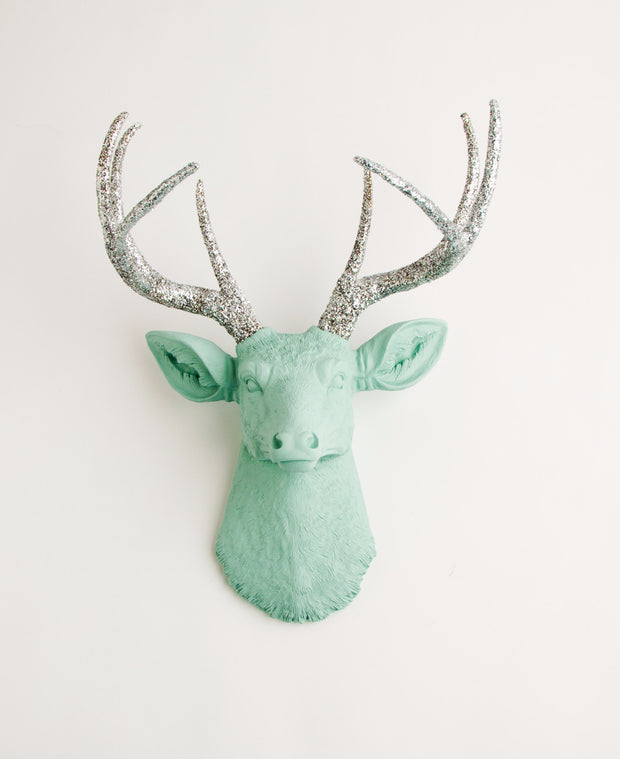 Glitter Deer Head sculpture, The Agnes. Seafoam green with silver-glitter antlers
