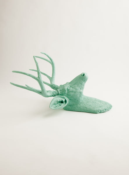 The Eleanor | Stag Deer Head | Faux Taxidermy | Seafoam Green Resin
