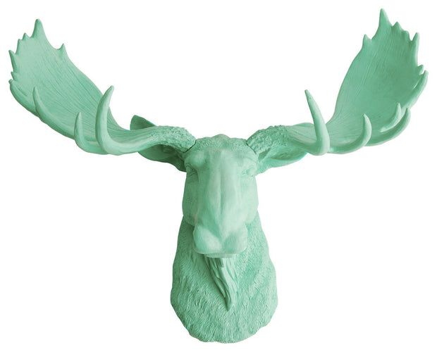seafoam green resin faux moose head wall hanging by WhiteFauxTaxidermy