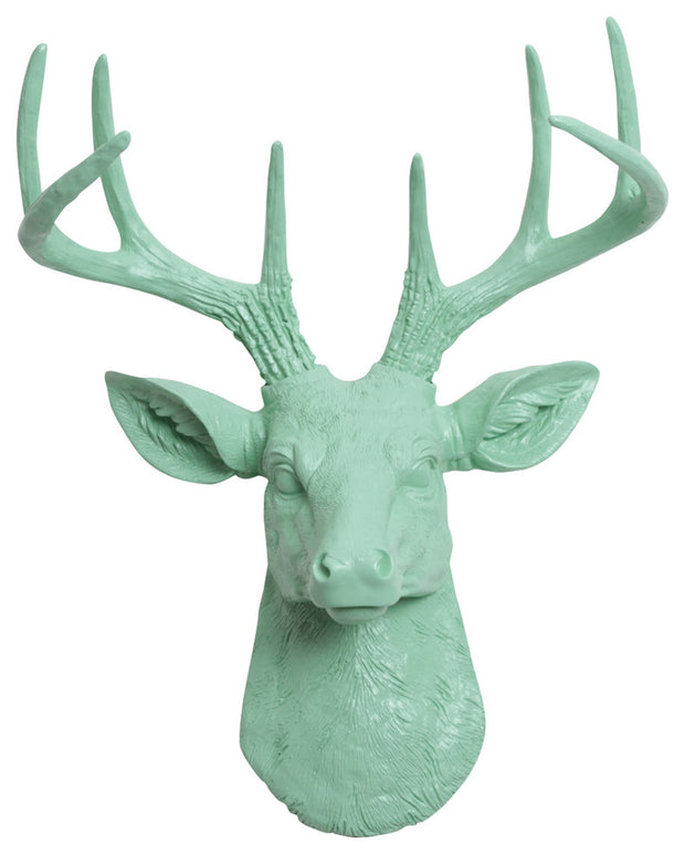 seafoam green ceramic-like resin mini mounted deer head sculpture wall decor