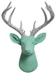 seafoam-green Resin XL Deer Head Mount, Silver-Glitter Antler Decor