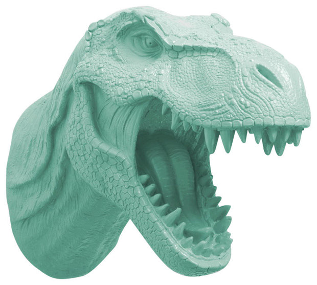 seafoam color t rex dinosaur head trophy wall mount