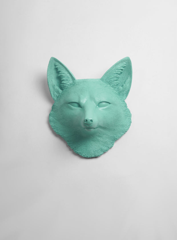 The Sylvester in Seafoam Green, Faux Taxidermy Fox Decor Head