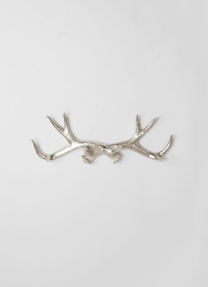 Silver Faux Antler Wall Rack | Deer Antler Hook | Silver Resin