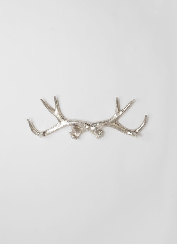 Faux Deer Antler Decor Hook in Silver. Chic Modern Rustic Country & Farmhouse Decor