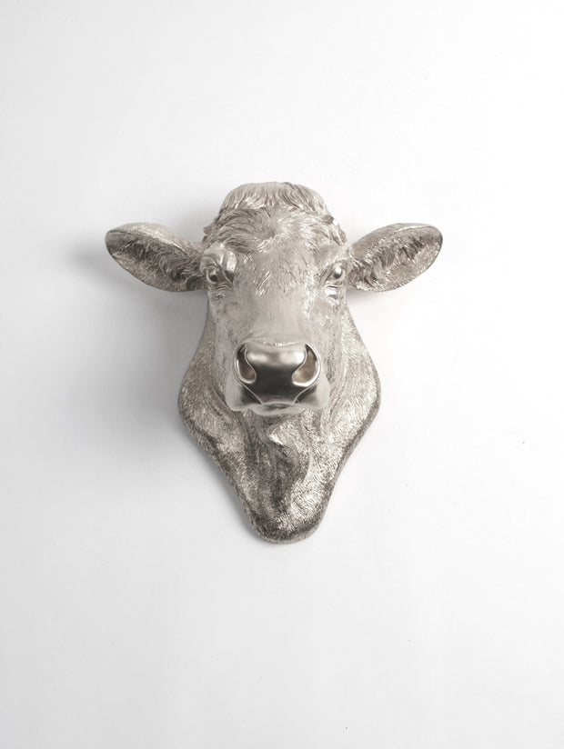 The Bessie in Silver, Cow Head Wall Decor