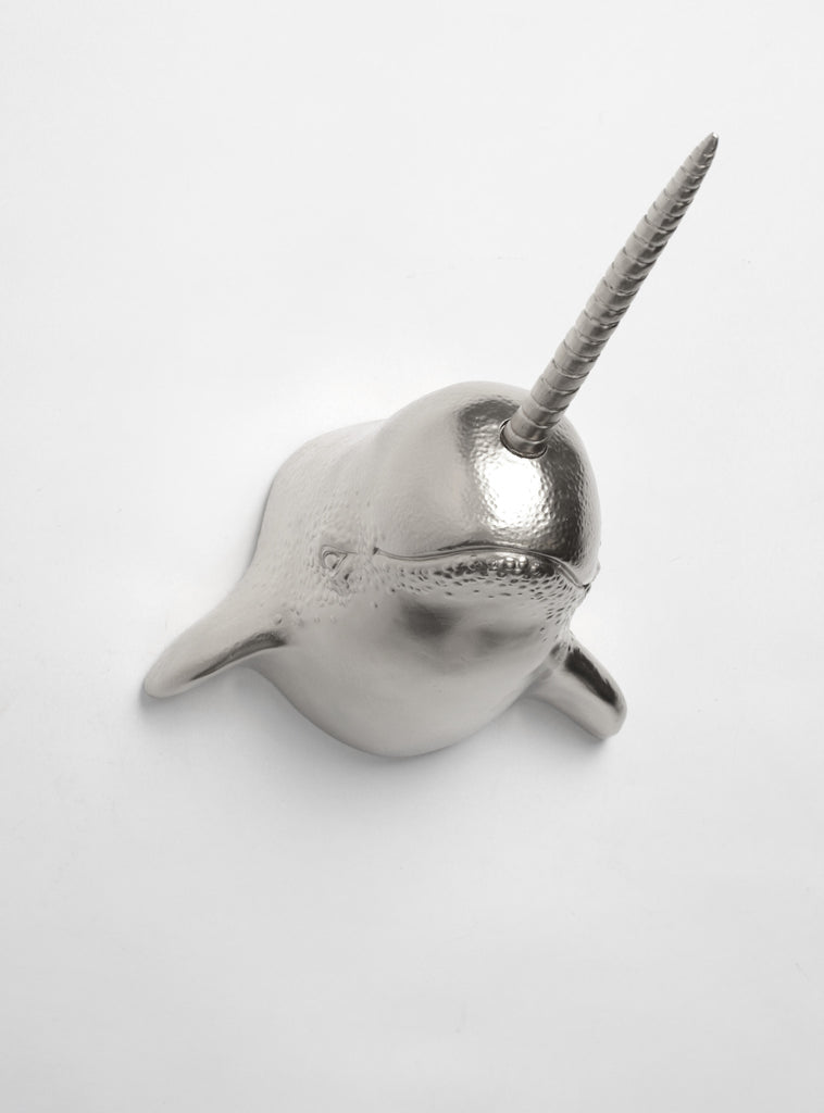 Silver Narwhal Head Wall Mount By White Faux Taxidermy