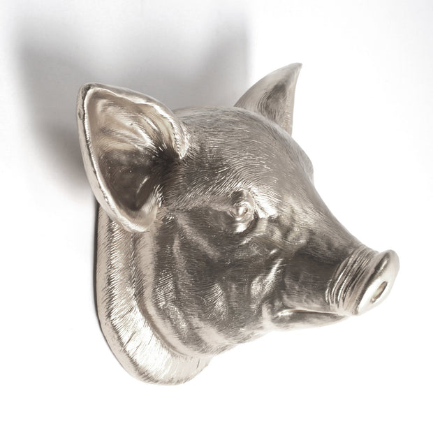 The Hamlet in Silver | Modern Farmhouse Home Decor, Faux Pig Head Wall Mount