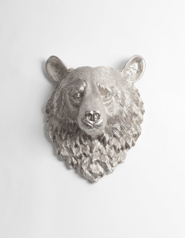 The Raleigh in Silver | Bear Head | Faux Taxidermy | Silver Resin