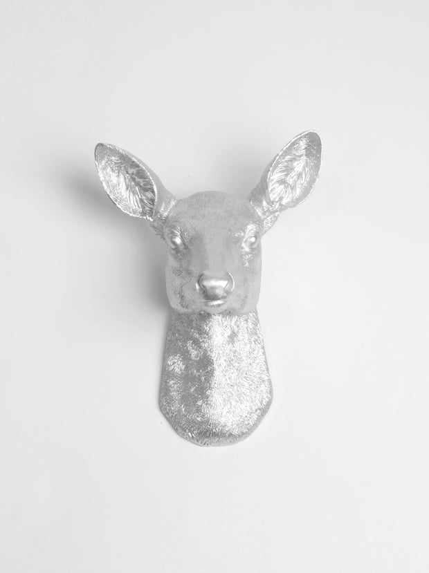 Aluminum / Silver Resin faux doe deer head without antlers wall sculpture by White Faux Taxidermy. Silver Faux Doe Head Wall Mount, The Ophelia Girl Deer Wall Mount