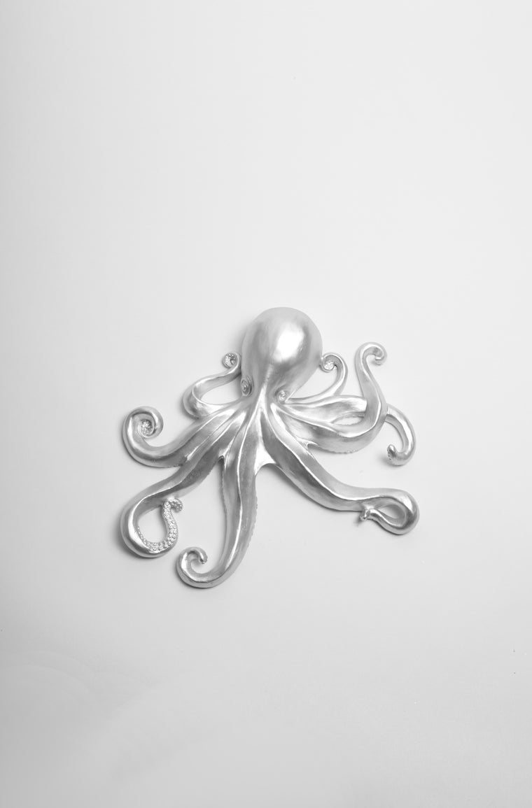 The Kraken in Silver | Large Faux Octopus | Silver Resin