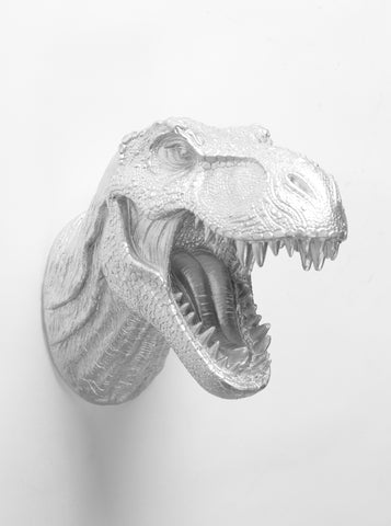 The Bonzai | T Rex Head | Faux Taxidermy | Silver Resin