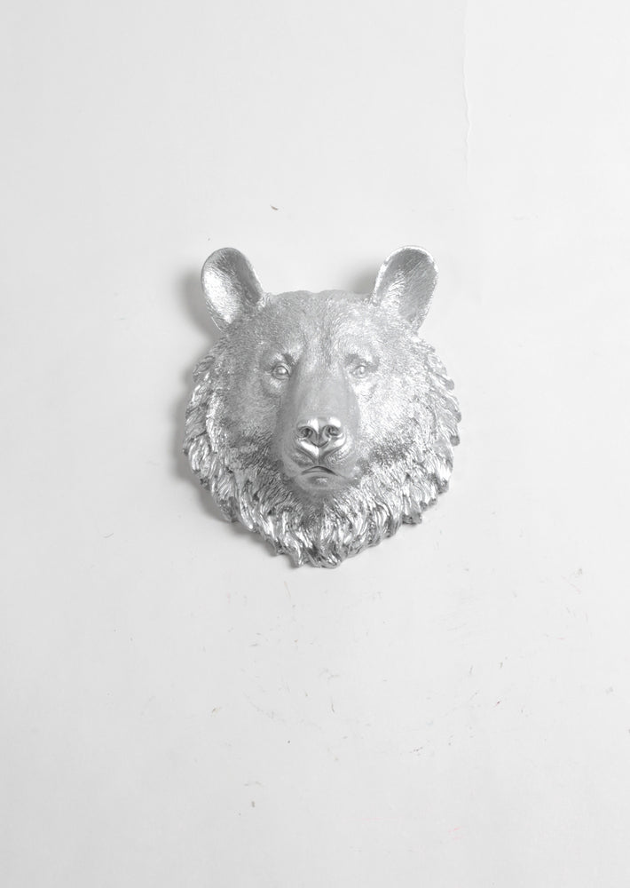 The Hector | Mini Bear Head | Faux Taxidermy | Silver Resin