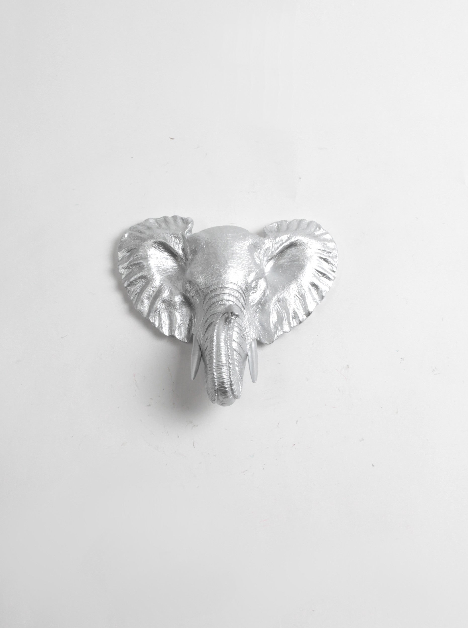 metallic silver-chrome elephant head wall mount, mini