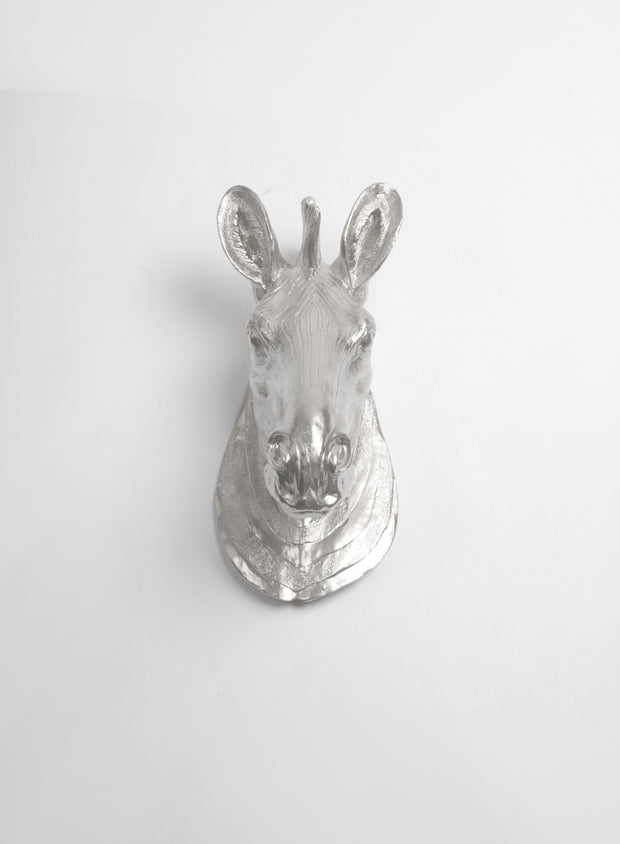 The Stripes | Faux Zebra Head | Faux Taxidermy | Silver Resin