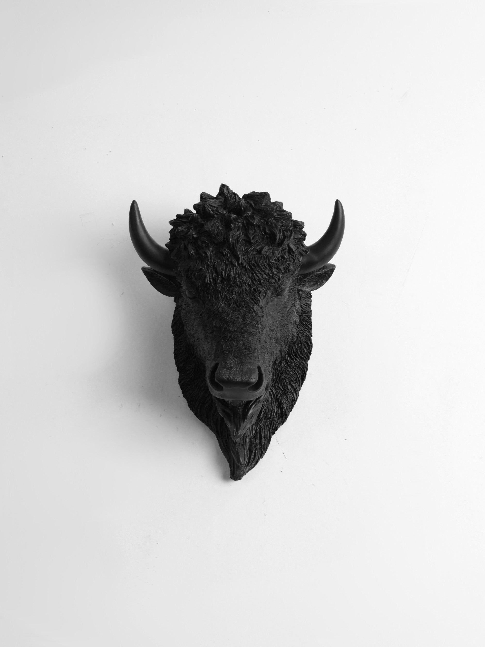 The Small Manstad, Faux Bison Head Wall Mount in Black