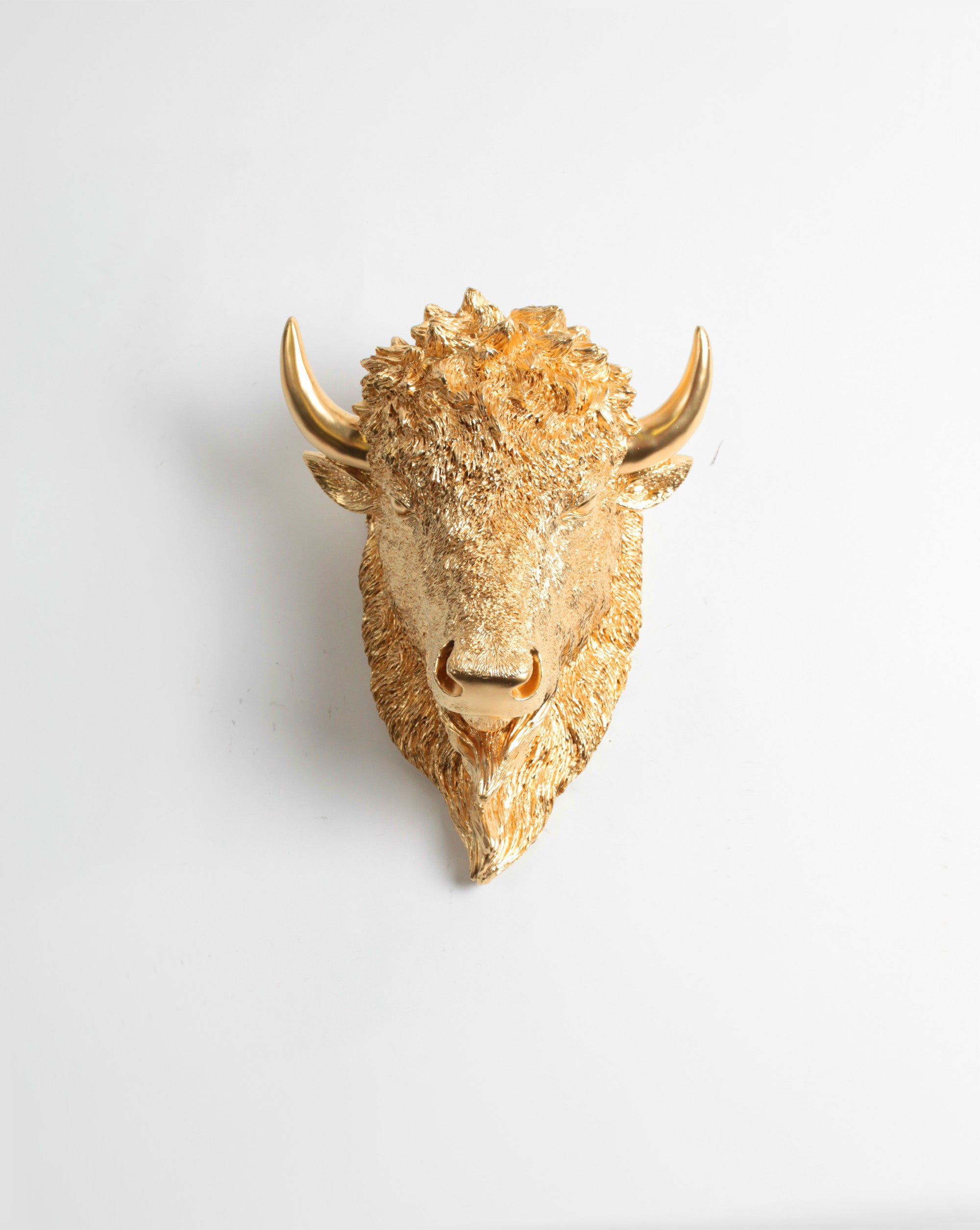 The Small Owen, Faux Bison Head Wall Mount in Metallic Gold