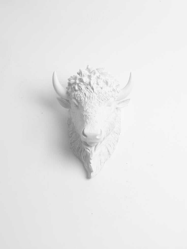 The Small Mellby, Faux Bison Head Wall Mount in White